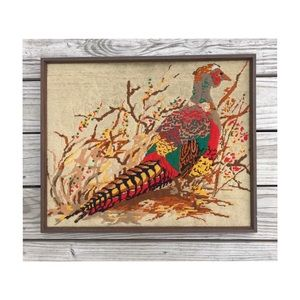 Vintage embroidered wall art frame hand made bird